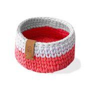 Cesto Organizador Redondo Fio de Malha Rosa e Branco | 16 x 10 cm