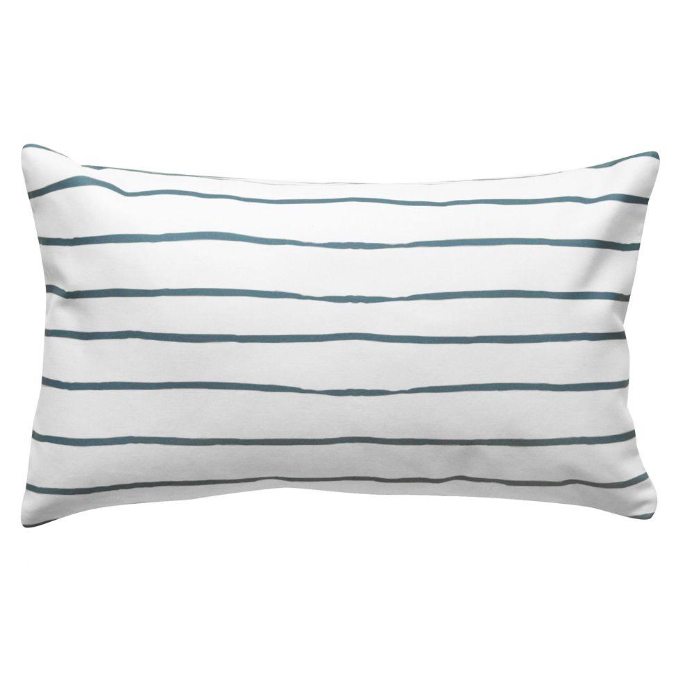 Almofada Baguete Listra Branca e Azul | 50 x 30 cm