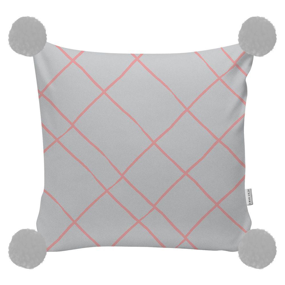 Almofada Xadrez com Pompom | 40 x 40 cm