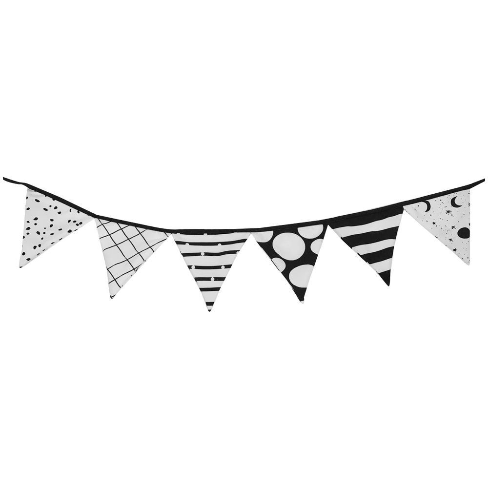 Bandeirola Decorativa Preta e Branca   150 x 17 cm