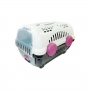 Caixa de Transporte Luxo Cães Gatos Nº01 8Kg Branca e Rosa