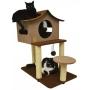 São Pet - Arranhador Gatos Casa de Cuco Marrom/Bege 78x60x85cm