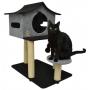 São Pet - Arranhador Gatos Casa de Cuco Preto/Cinza 78x60x85cm