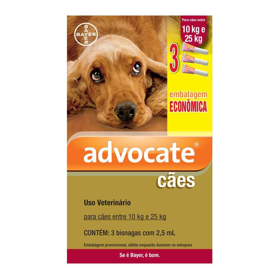 Advocate Bayer - Antipulgas para Cães 10-25Kg 3 Unidades