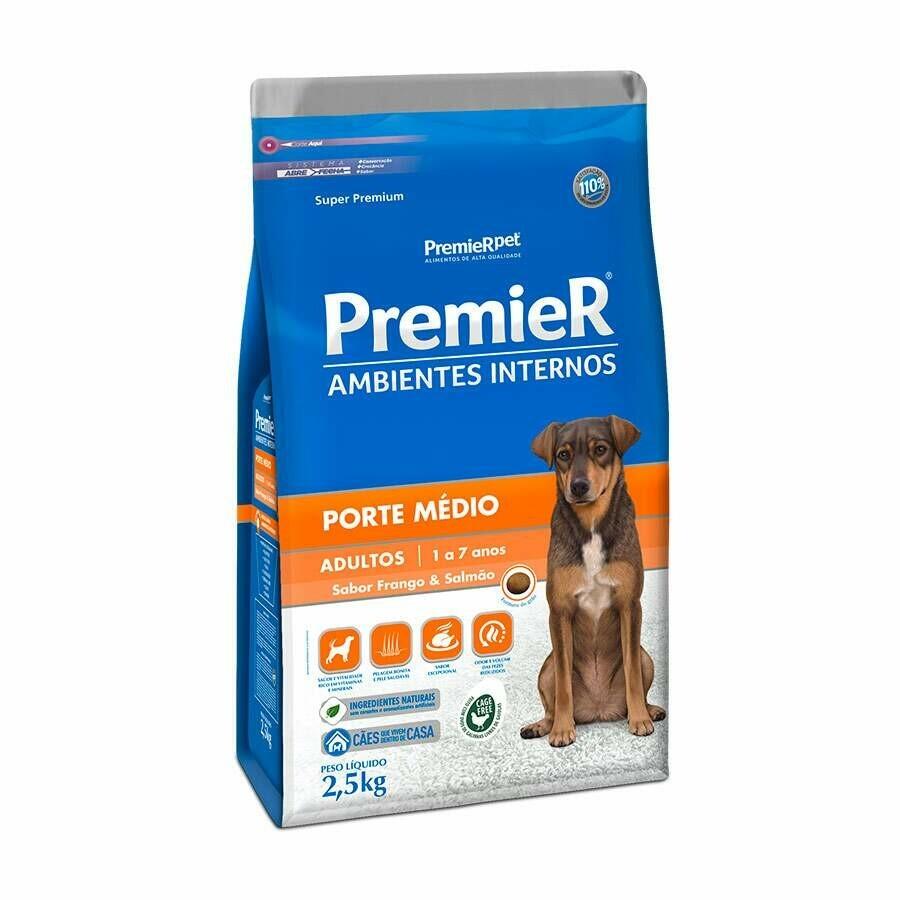 Ração Cães Premier Adultos Raças M 2,5kg Frango Salmão