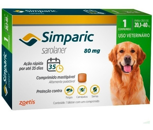 Anti Pulgas Carrapatos Simparic 80 Mg 20-40 Kg 1 Comprimido