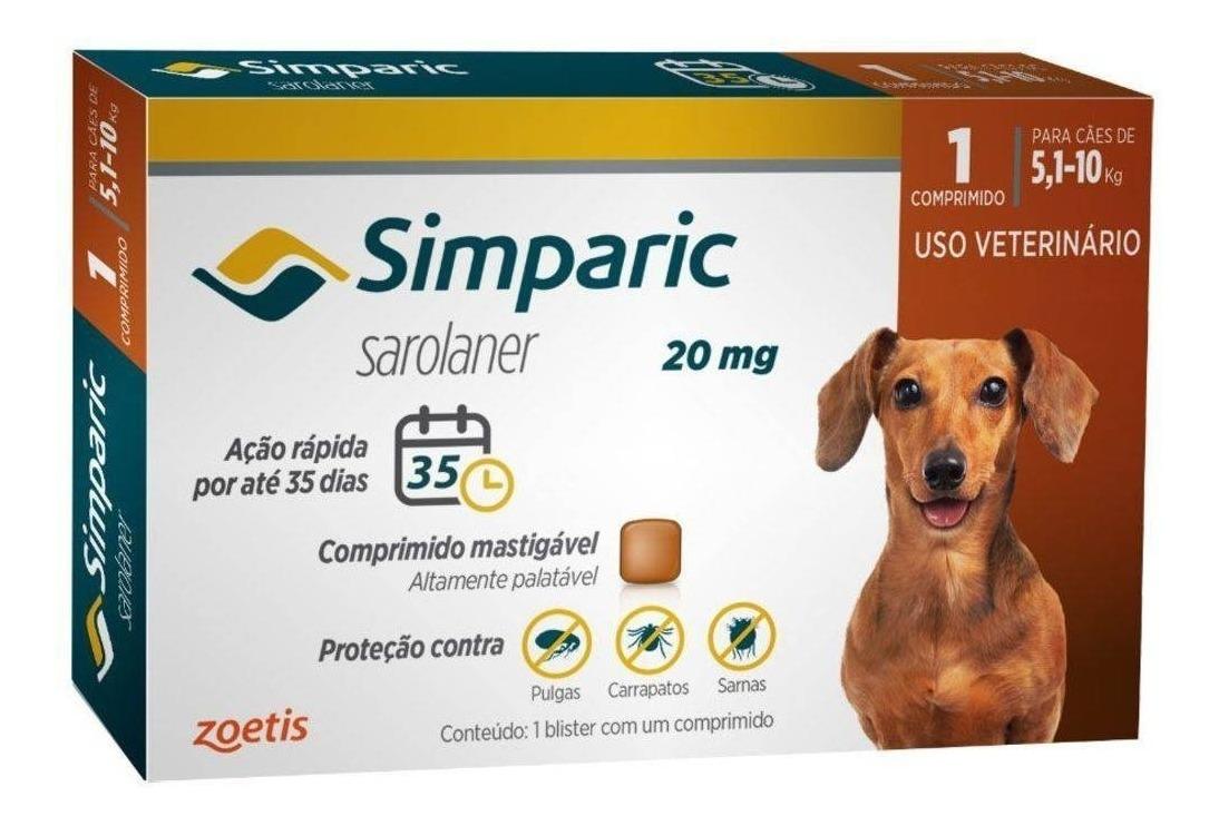 Anti Pulgas Simparic 20mg C/ 1 Comprimido Cães 5,1 A 10 Kg