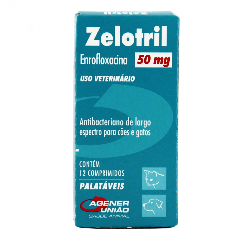 Zelotril - Antibiótico Cães e Gatos Agener União 50mg 12 Comprimidos