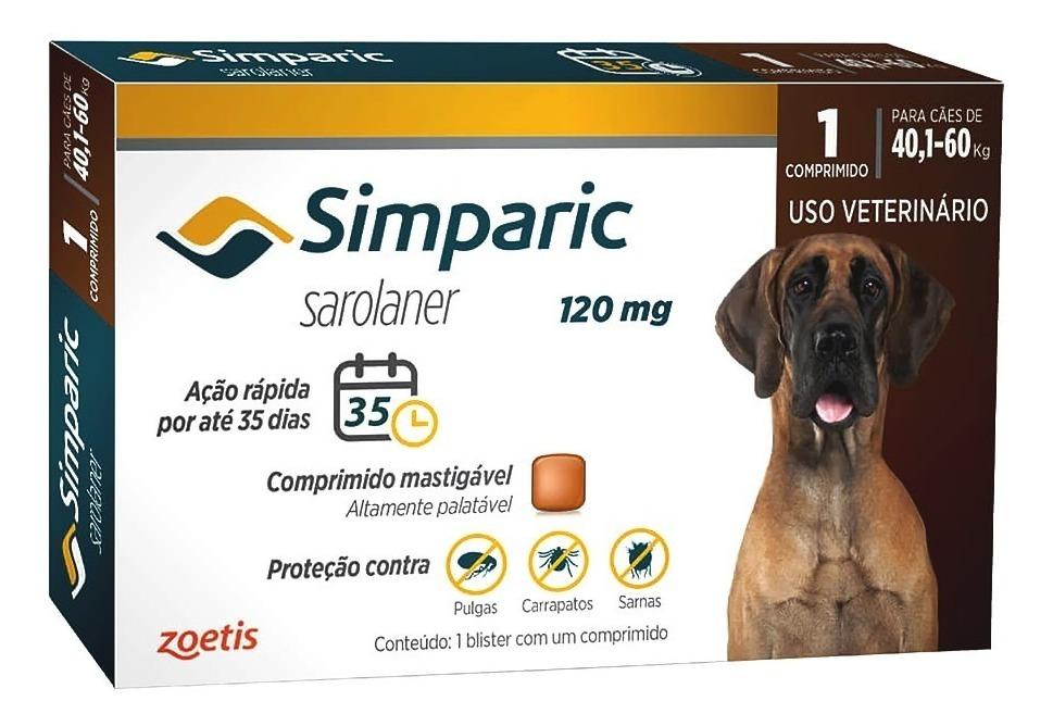 Antipulgas Carrapatos Simparic 120mg 40-60kg 1 Comprimido