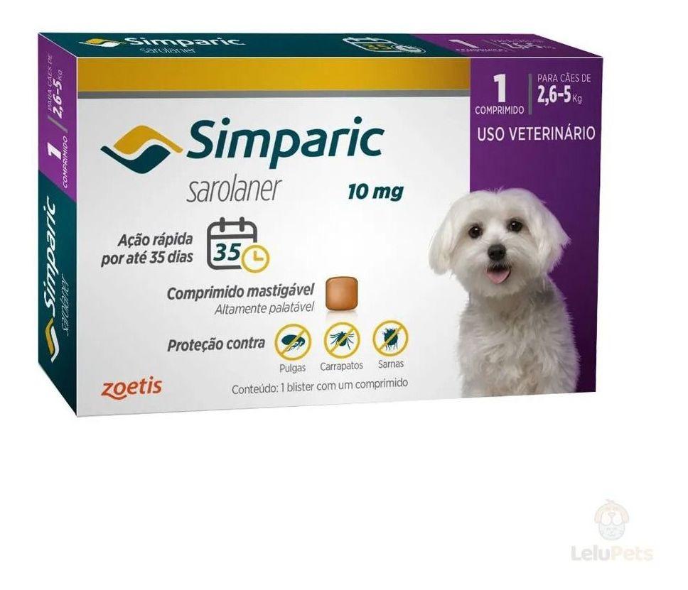 Antipulgas e Carrapatos Simparic 10mg 2,6-5 Kg 1 Comprimido