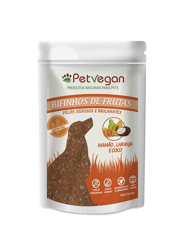 Bifinho de Frutas Cães PetVegan Mamão Laranja Coco 60g - Sem Glúten
