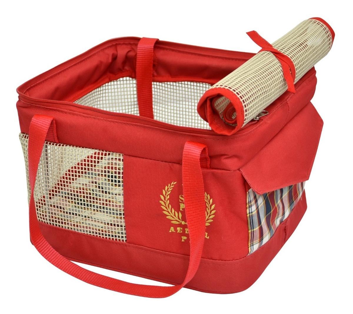Bolsa de Transporte Aéreo Cães Gatos Avião Companhia Gol 43x32x24cm Vermelho