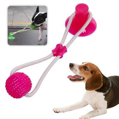Brinquedo Mordedor Bola Com Ventosa Rosa