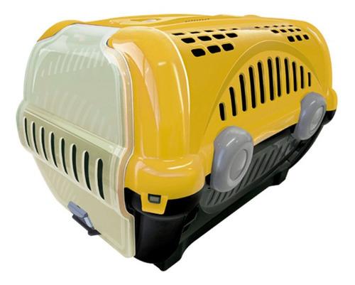 Caixa De Transporte Cães Gatos Coelho Pequeno Nº2 Amarelo