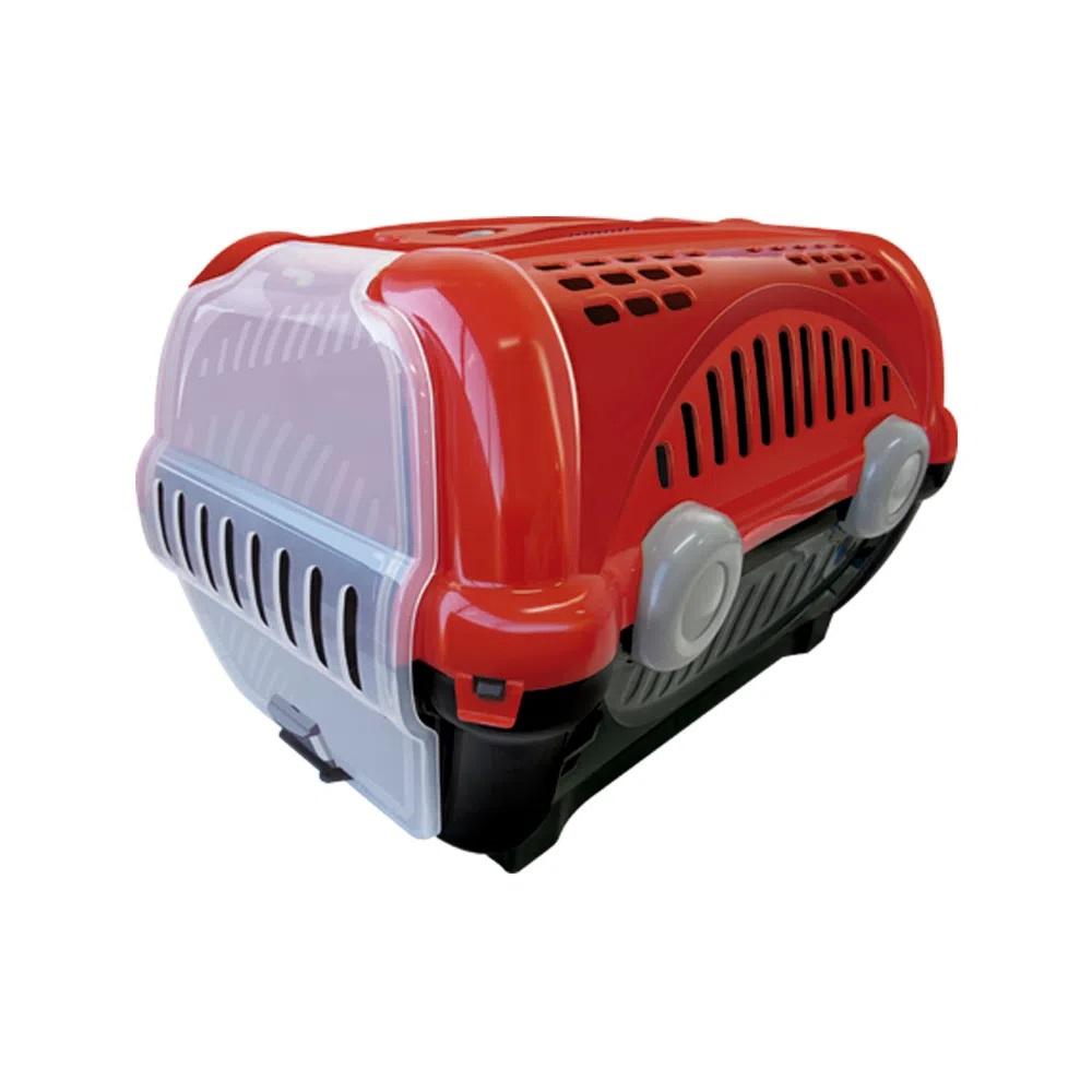 Caixa de Transporte Luxo Cães Gatos Nº01 8Kg Vermelho Preto