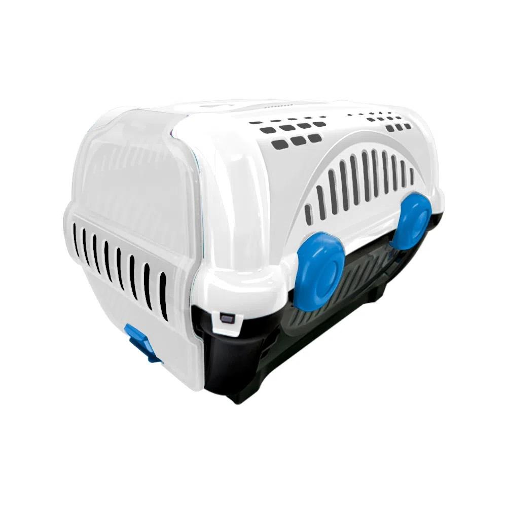 Caixa de Transporte Luxo Cães Gatos Nº1 8Kg Branca e Azul