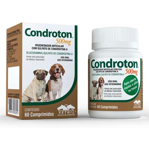 Condroton 500mg - Regenerador Articular Cães 60 Comprimidos
