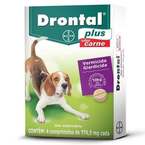 Drontal Plus - Vermífugo para Cães 4 Comprimidos Carne 10Kg