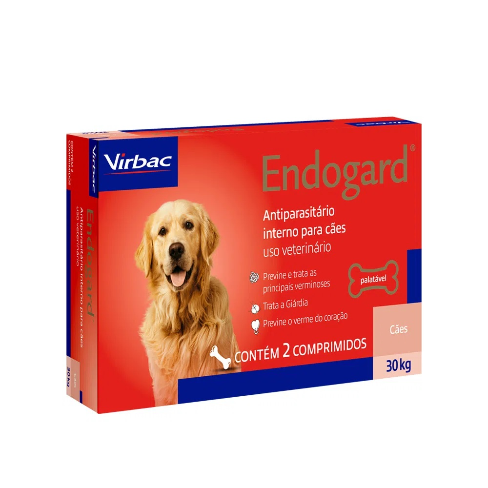 Endogard Virbac - Vermífugo para Cães 30Kg 2 Comprimidos