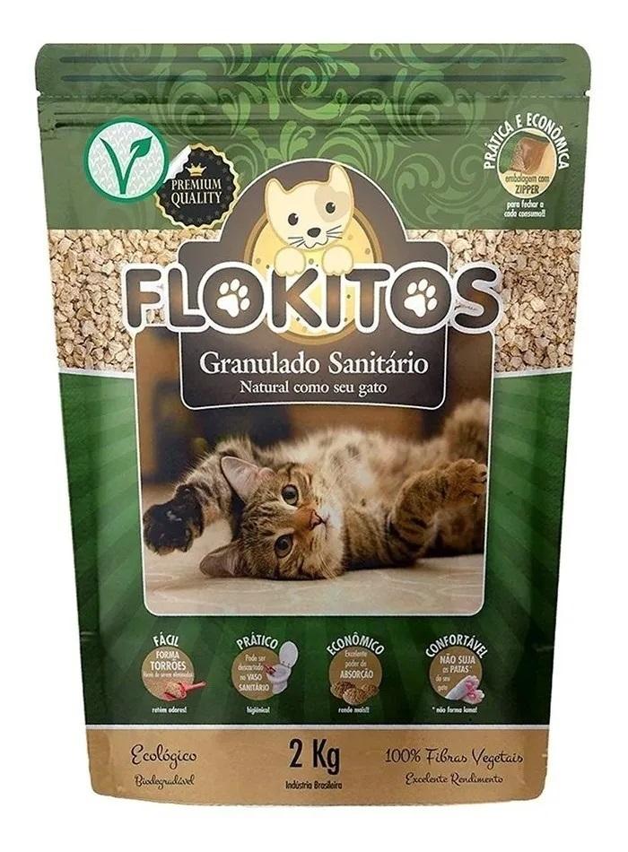 Flokitos - Granulado Sanitário Biodegradavel Gatos 2 Kg