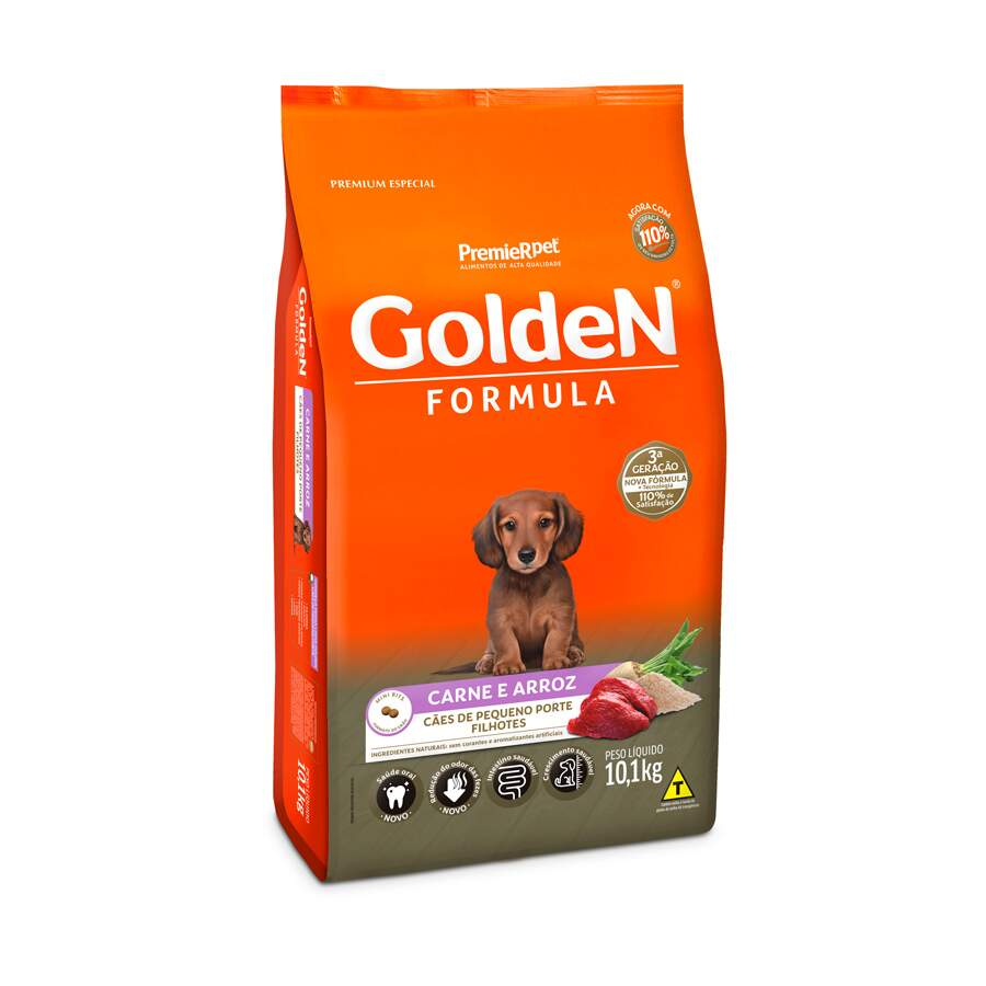 Ração Seca Cães Golden Filhote Carne Mini 10kg