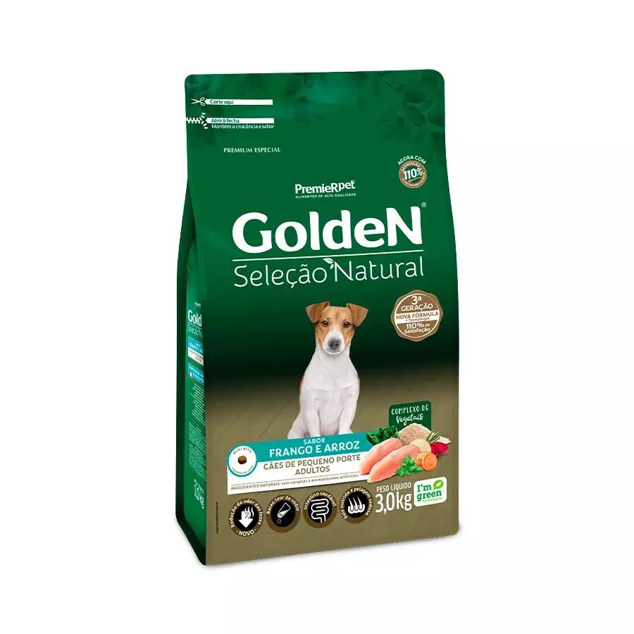 Golden Seleção Natural - Ração Cães Adultos Raças Pequenas Frango 3Kg