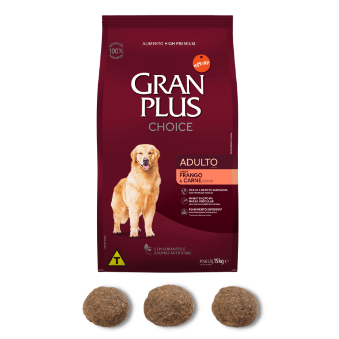 Gran Plus Choice - Ração Cães Adultos Frango e Carne 15Kg