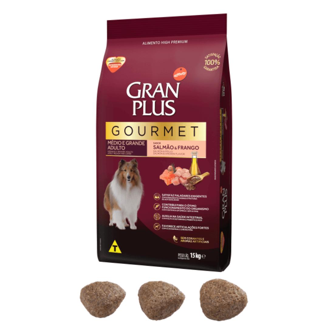 Gran Plus Gourmet - Ração Cães Adultos Médio e Grande Porte Salmão 15Kg