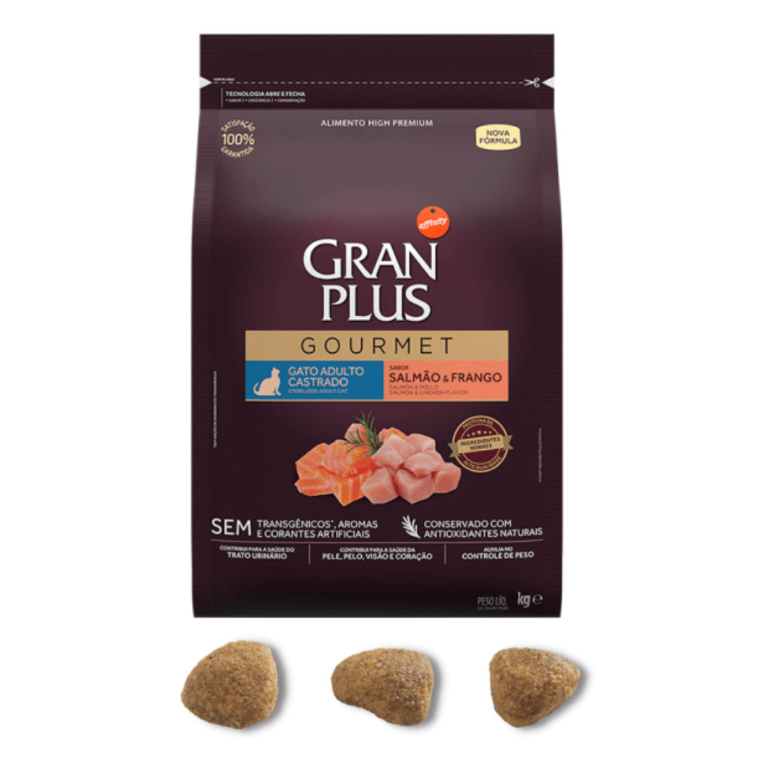 Gran Plus Gourmet - Ração Gatos Adultos Castrados Salmão e Frango 1Kg