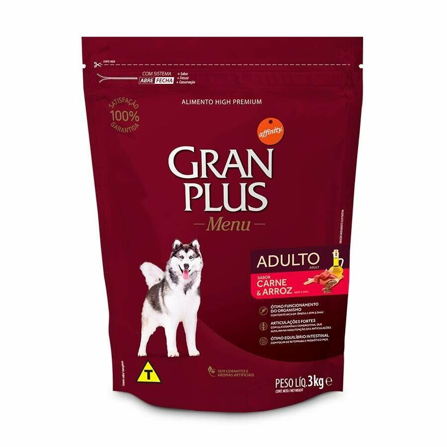 Gran Plus - Ração Cães Adultos Carne 3Kg