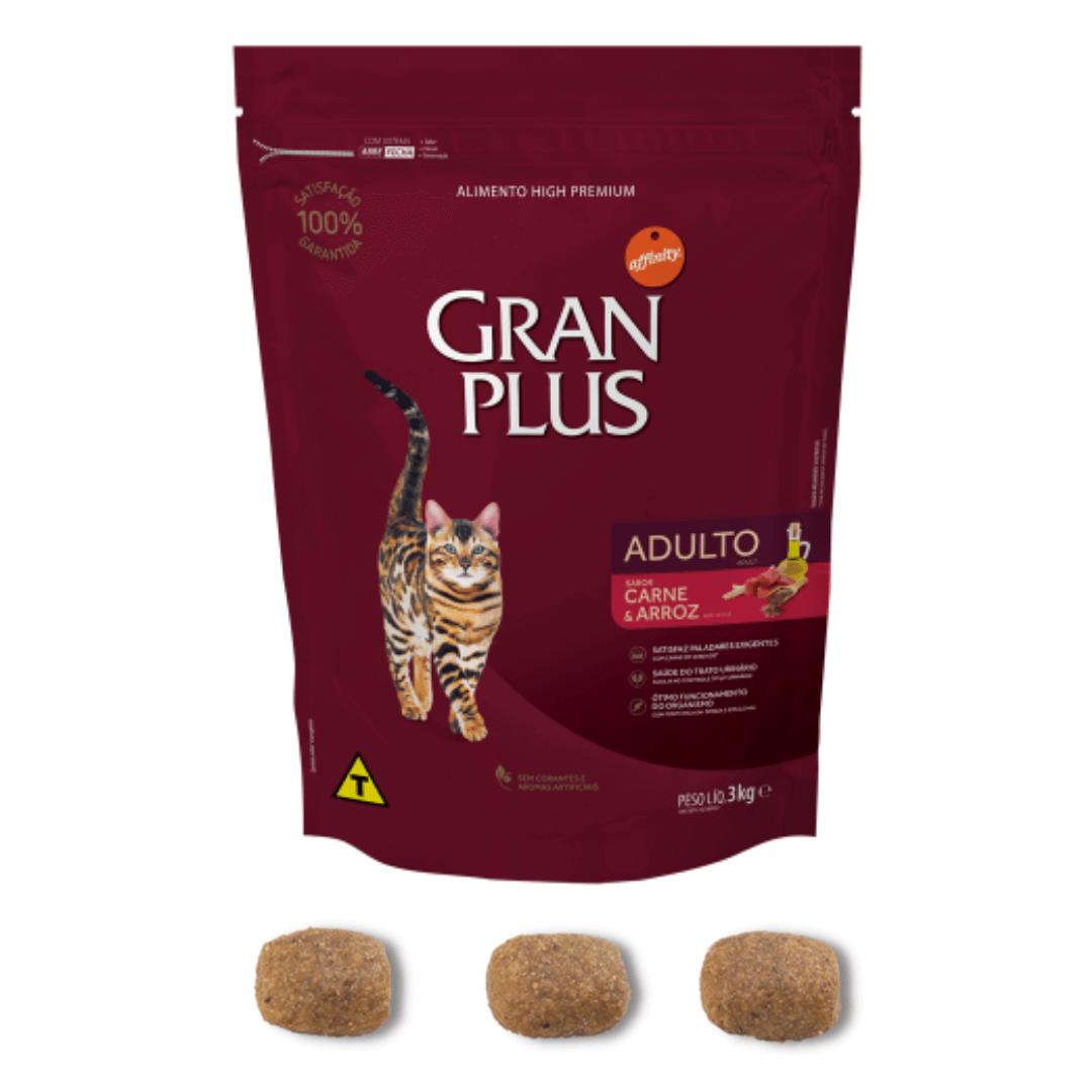 Gran Plus - Ração Gatos Adultos Carne 3Kg
