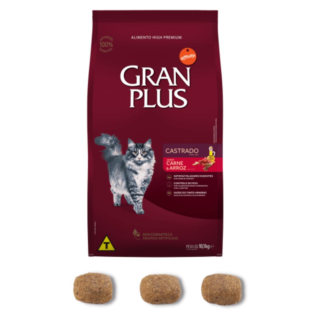 Gran Plus - Ração Gatos Adultos Castrados Carne 10,1Kg