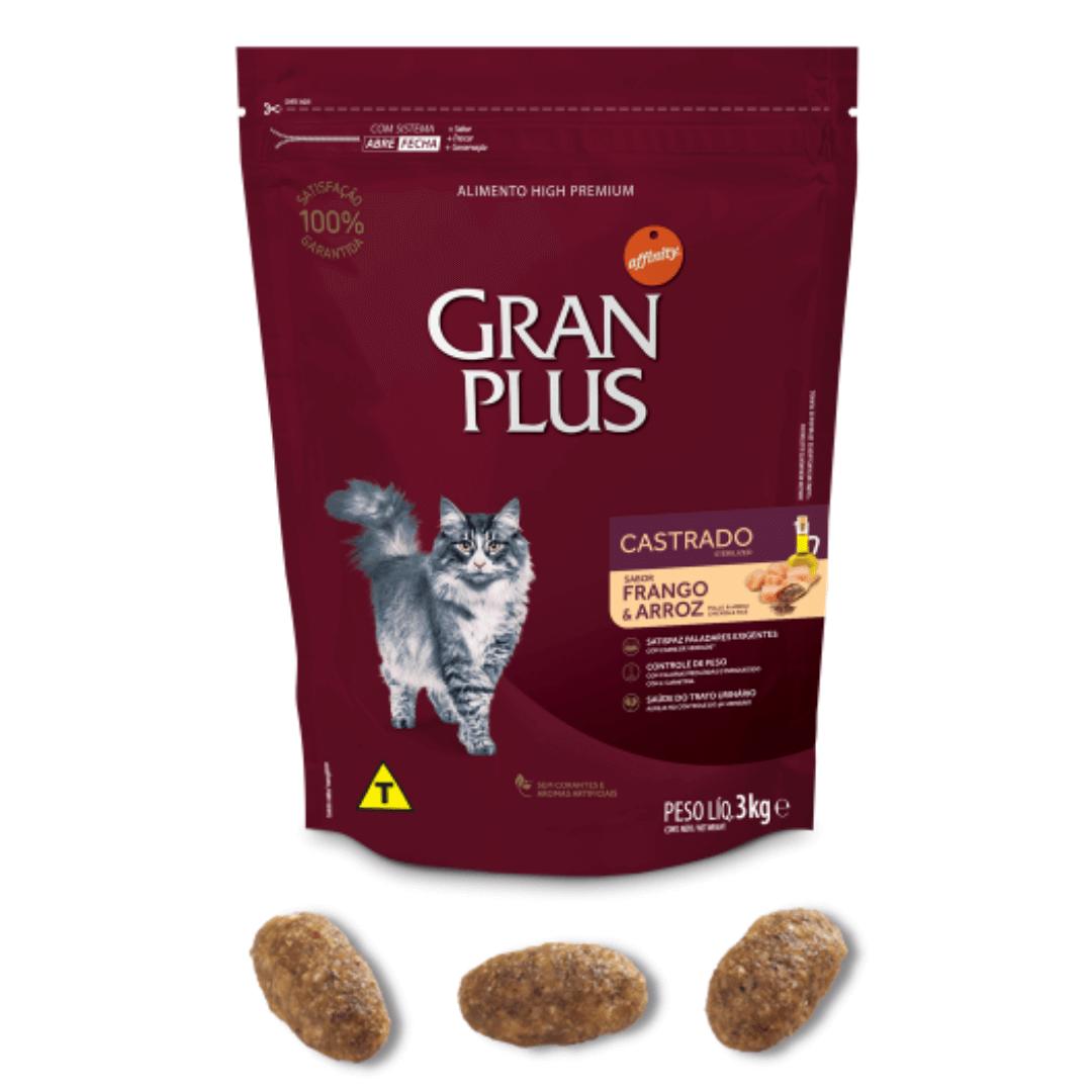 Gran Plus - Ração Gatos Adultos Castrados Frango 3Kg