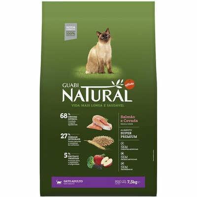 Guabi Natural - Ração Gatos Adultos Salmão Cevada 7,5kg