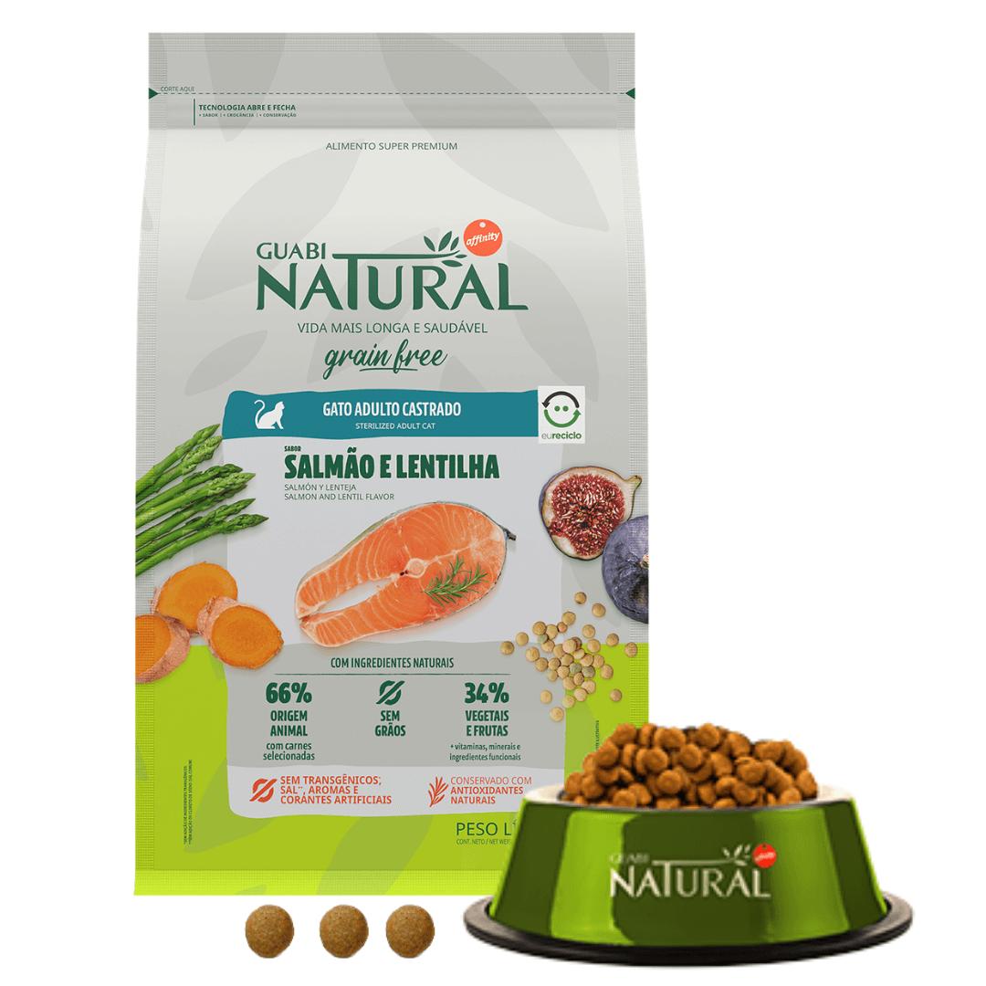 Guabi Natural - Ração Gatos Castrados Salmão Lentilha Grain Free 1,5Kg