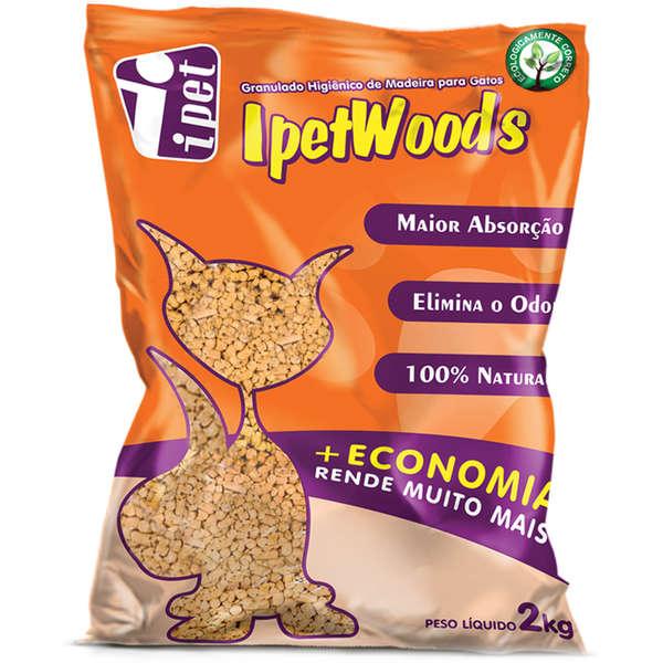 Ipetwoods - Granulado de Madeira Higiênico para Gatos 2Kg