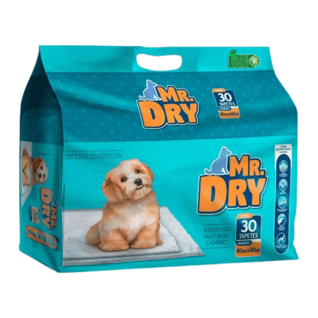 Mr. Dry - Tapete Higiênico Cães 80x60 Seca Rápido Pacote 30 Un.