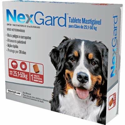 Nexgard - Antipulgas e Carrapatos Cães 136mg 25,1Kg a 50Kg 1 Tablete