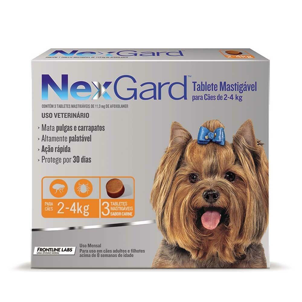 Nexgard - Antipulgas e Carrapatos Cães 2 a 4Kg 3 Tabletes