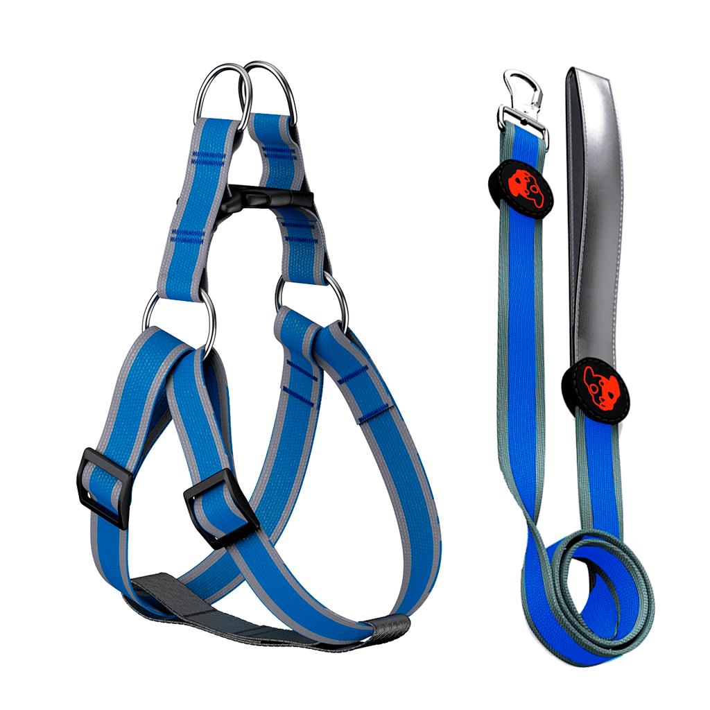 Peitoral Guia Para Cachorro Anymous Onix Azul - M