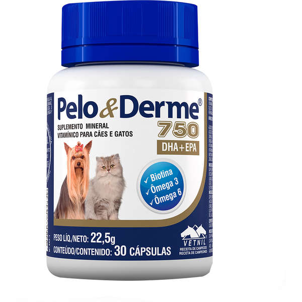 Pelo & Derme 750 Vetnil - Suplemento Vitamínico Cães Gatos 30 Cápsulas