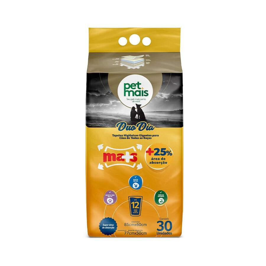 Pet Mais Duo Dia - Tapete Higiênico Cães Até12 Urinas 80x60cm 30 Unidades