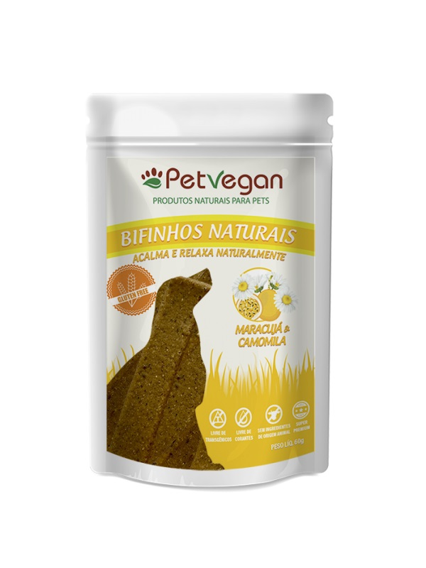 Petisco Cães Bifinho Natural PetVegan Maracuja e Camomila 60g - Sem Glúten