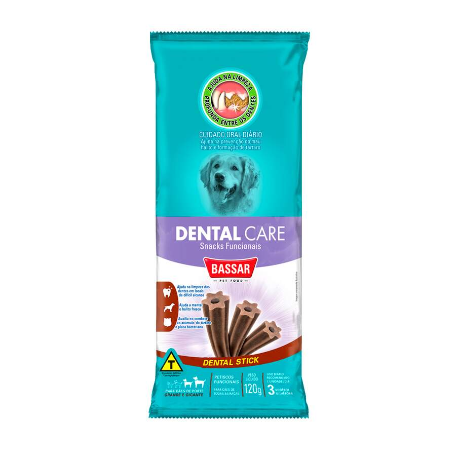 Petiscos Funcionais Snack Dental Care Bassar 120g - 3 Unidades