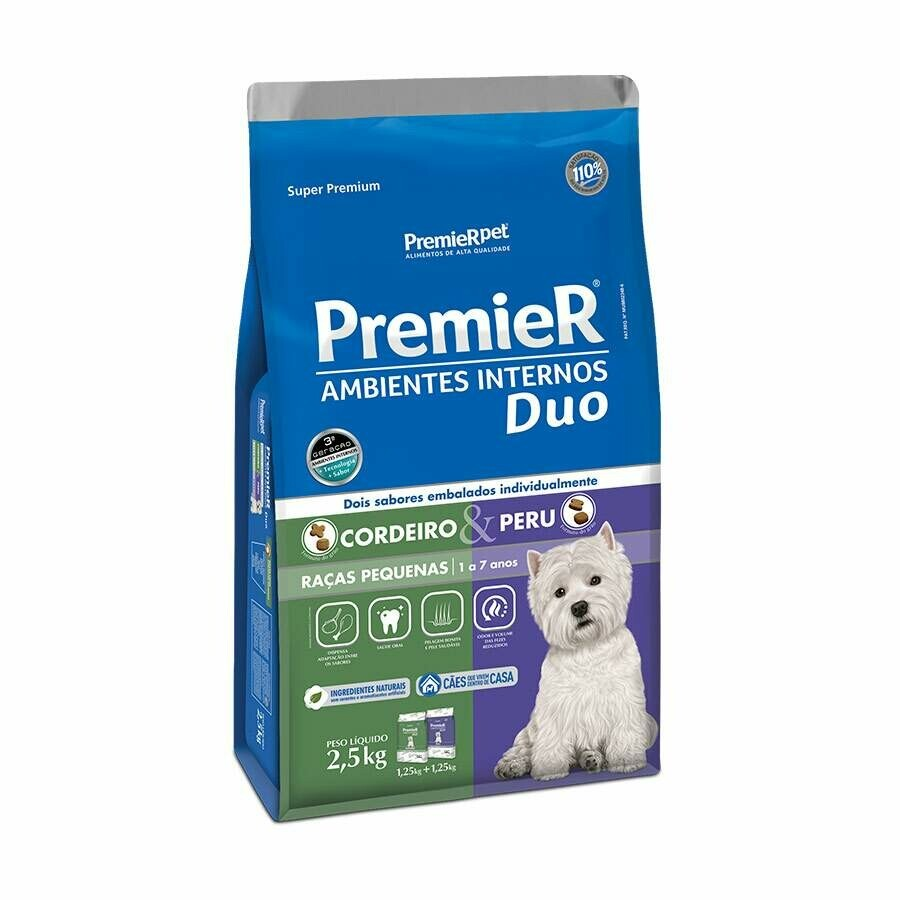 Ração Cães Premier Ambiente Interno Duo Cordeiro Peru 2,5kg