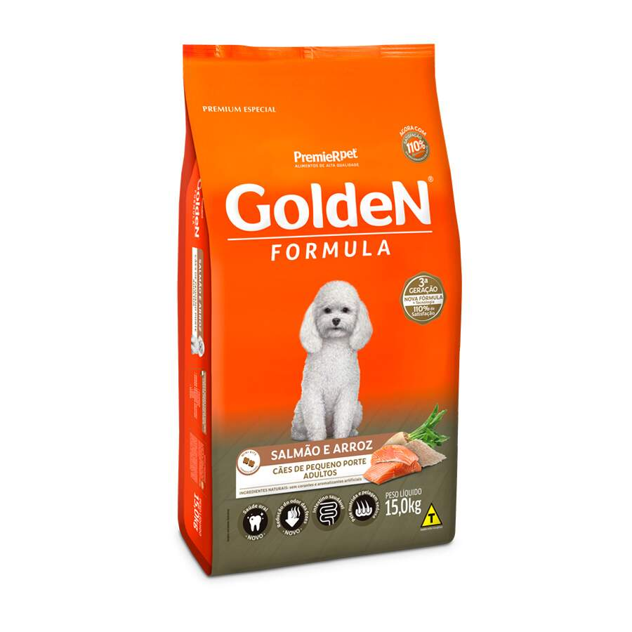 Premier Pet Golden - Ração Cães Adultos Mini Salmão 15Kg
