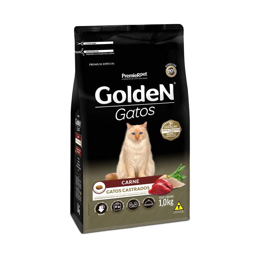 Premier Pet Golden - Ração Gatos Castrados Carne 1Kg