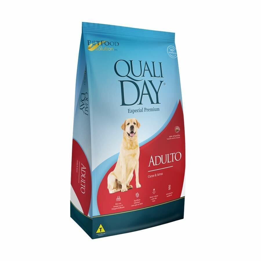 Ração Qualiday Cães Adulto Carne Arroz 3kg