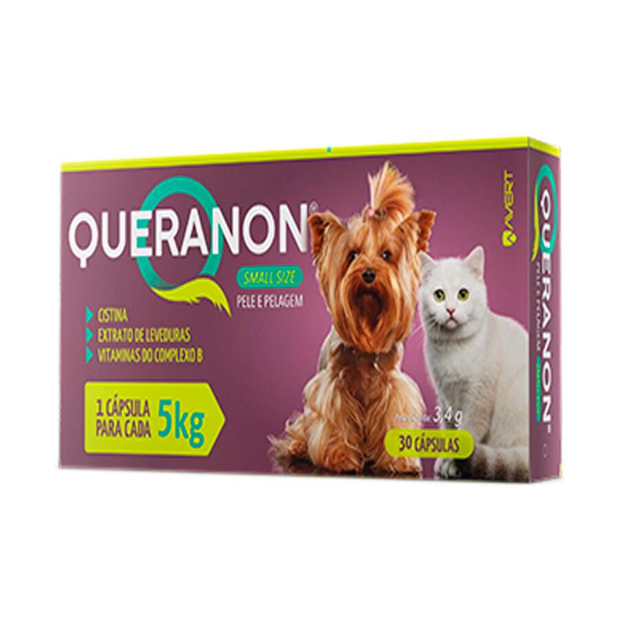 Queranon Small Size 5Kg - Suplemento Vitamínico Cães  Gatos 3,4g 30 Cápsulas