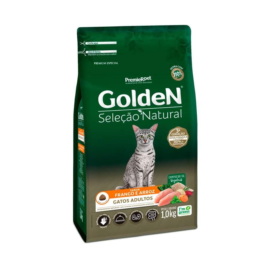 Ração Golden Gatos Adultos Seleção Natural Frango e Arroz 1Kg